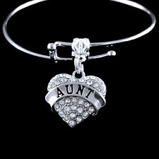 Aunt bracelet  Worlds greatest aunt  crystal heart charm style best jewelry gift