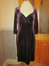 m&s velvet aubergine 3/4 sleeve dress size 12 brand new with tags