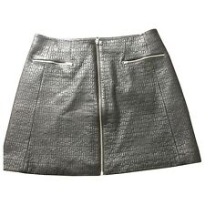 Whistles Quilted Genuine Leather A Line Mini Skirt 12