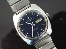 Gents Vintage Tissot Actualis Autuclub St. Steel Bracelet Watch with Blue Dial.