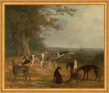 Nine Greyhounds in a Landscape Jacques-Laurent Agasse Windhunde Tiere B A2 02347