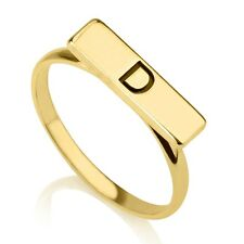 Personalized Initial Bar Ring - 24k Gold Plated - Any Letter Engraved Ring