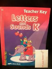 A Beka Numbers Skills Arithmetic K, Letters and Sounds Teacher Key Kindergarten