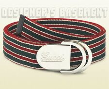 GUCCI red & green belt 38-95 Canvas SCRIPT Logo D-RING Slip buckle NWT Authentic