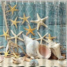 Sea Shells and Star Fish Caught in Fishing Net Bathroom Shower Curtain Polyester