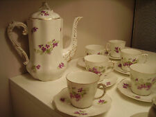 SUPERBE SERVICE A CAFE ANCIEN PORCELAINE DE LIMOGES 10 TASSES DECOR VIOLETTES DO
