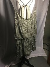 Angie Silver Beaded Jumpsuit Size Medium T Back Open Spaghetti Strap Brand New