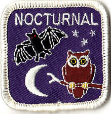 """NOCTURNAL"" - Iron On Embroidered Patch -  Animals, Birds, Owls, Bats"