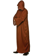 Mens Hooded Robe Medieval Monk Wizard Warrior Jedi Fancy Dress Brown Adult New