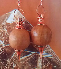 2 RARE SANDALWOOD AND COPPER WOOD DOWSING PENDULUM WITH 2 STORAGE POUCHES