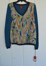 NWT MISSONI FOR TARGET XL Mixed Media V-Neck Sweater Chiffon Top