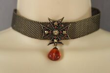 Women Vintage Antique Gold Mesh Metal Choker Necklace Cross Star Charm Pendant