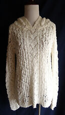 Anthropologie Yellow Bird XS Chunky White Open Crochet Knit Hooded Tunic Sweater