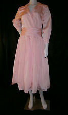 FANCY NY NEW YORK  PINK  SILK TEA LENGTH SIZE 8  WEDDING GOWN DRESS FORMAL