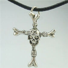 "Religious Cross Skull Skeleton Pendant 16"" Collar Choker Short Necklace 13945"