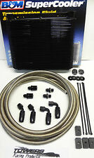 Trans Cooler Kit Ford AOD/AODE/4R70W/4R7xx -6an Stainless Hose & Black Fittings