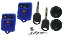 NEW BLUE FORD REPLACEMENT KEYLESS ENTRY REMOTE AND UNCUT TRANSPONDER KEY - PAIR
