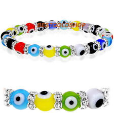 Cubic Zirconia Crystal Rainbow Multi Color Evil Eye Luck Bracelet 8mm