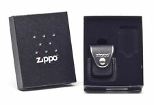 Zippo Lighter Gift Set Pouch Case Black Leather With Belt Clip and Box NEW