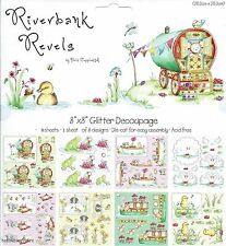 HELZ CUPPLEDITCH RIVERBANK REVELS 8 X 8 GLITTER DECOUPAGE SAMPLE PACK - 8 SHEETS
