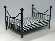 Antique Black Metal Bed & Mattress, Dolls House Miniatures, Furniture, Bedroom