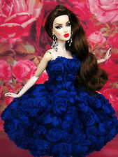 Blue Flower Cocktail Evening Dress Outfit Gown Silkstone Barbie Fashion Royalty
