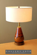 MID CENTURY CA MODERN BROWN ORANGE GLAZED DRIP LAMP! Eames 50's Vtg Danish