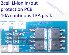 2 cells 10A Li-ion Lithium 18650 14450 Battery In/Out Protection PCB 13A peak RE