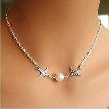 Fashion Jewelry Charm Swallow Pendant Choker Chunky Statement Bib Chain Necklace
