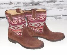 NATURALIZER~$139.00~SUEDE *TRIBAL WESTERN AZTEC* HIPPIE SLOUCHY FLAT BOOTS~11M