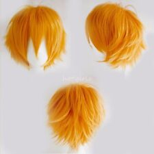 HOT Short Straight Wig Cosplay Party Hair Wigs for Women Men Boy Light Orange #a