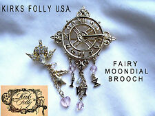 * KIRKS FOLLY U.S.A. * ENCHANTED GARDEN MOONDIAL * BROOCH * ORIGINAL BOX *