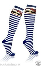 Striped Hello Kitty White and Blue Knee High Socks Cat Womens Girl Sanrio Anime