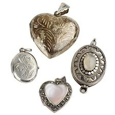 FOUR (4) BEAUTIFUL STERLING SILVER PENDENT LOCKETS, 2 HEARTS AND 2 OVAL