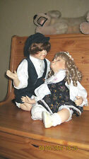 1st Kiss-Pair of Dolls-Boy Doll and Girl Doll Porcelain & Cloth Body-VGC