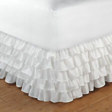 WHITE LAYERED Full (double) BEDSKIRT RUFFLE : PRINCESS BED SKIRT DUST RUFFLE