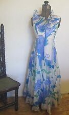 VINTAGE 1970's couture HARMAY BY ST AMOUR MOD FLORAL PRINT SILK VOILE MAXI DRESS