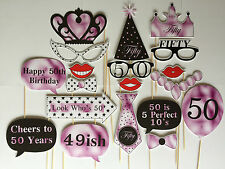 19 Piece Photo Booth Prop Set - Female 50th Birthday Party - Aust Made