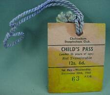 Cheltenham Steeplechase Club Childs Day Pass Badge Dec 28th 1960 Horse Race Hunt