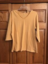 Christopher & Banks Top Yellowgold V Neck 3/4 Sleeve Womans Size XL New