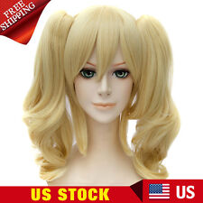 Long Anime Wigs Women Cos wig + Ponytail Batman Harley Quinn Golden Curly Hair
