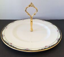 "Royal Doulton Rhodes Round Serving Plate w/ Gold Handle 10"" England China EUC"