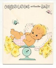 Vtg American Greetings New Baby Greeting Card Adorable Baby Girl On Scale Feb16