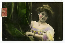 c 1907 Young Fashion Beauty PRETTY LADY tinted glamour photo postcard