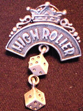 HIGH ROLLER GAMBLERS CHARM PIN Casino Pewter Pair of Dice Dangling Jewelry NOS
