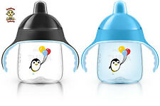Avent Penguin Sippy Cup / Spout Cup, 9 oz, 12m+, Blue & Black, 2 Pack, BPA Free