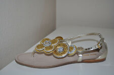 NEW $595 MIU MIU Gold Glitter Flower T-Strap Sandal Flat Silver leather Shoe 7.5