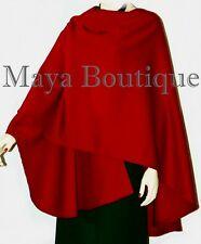 Cashmere Wool Cape Ruana Wrap Coat RED by Maya Matazaro Made in USA New
