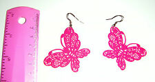 NEW H&M Silver Pink Metal Lazer Cut Butterfly Dangle Earrings