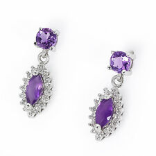 Natural Amethyst Stone & White Cubic Zirconia  .925 Sterling Silver Earrings